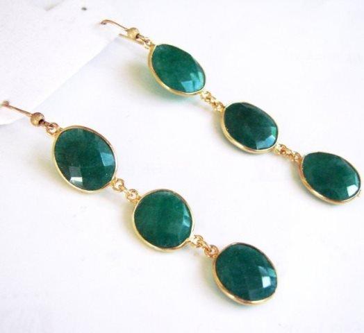 Emerald Earrings Dangle 20.44Ct 18k Y/g Overlay - 2