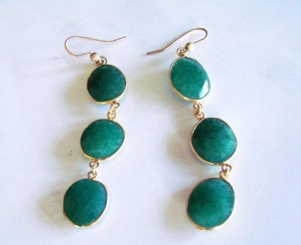 Emerald Earrings Dangle 20.44Ct 18k Y/g Overlay - 3