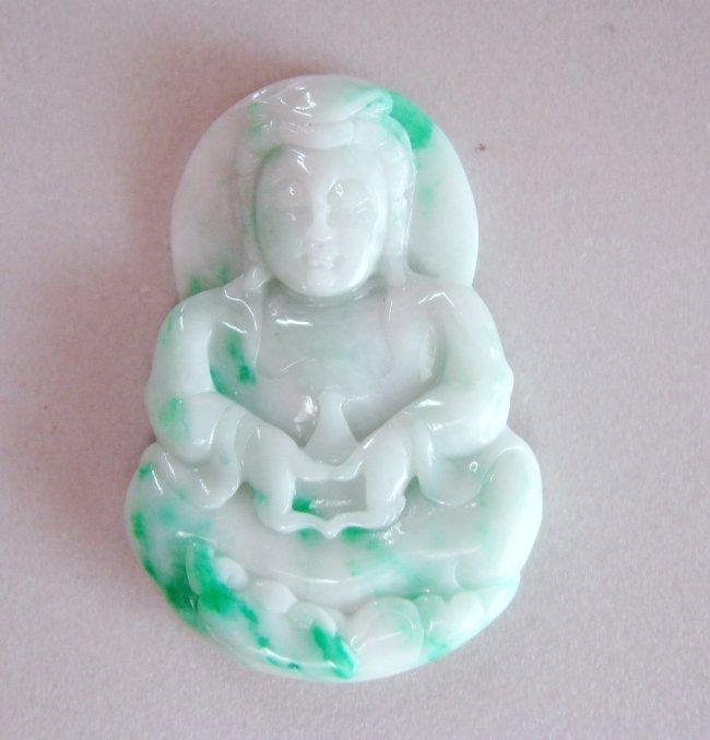 Guanyin Buddha Natural Jade Jadeite Grage A
