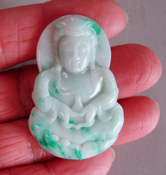 Guanyin Buddha Natural Jade Jadeite Grage A - 3