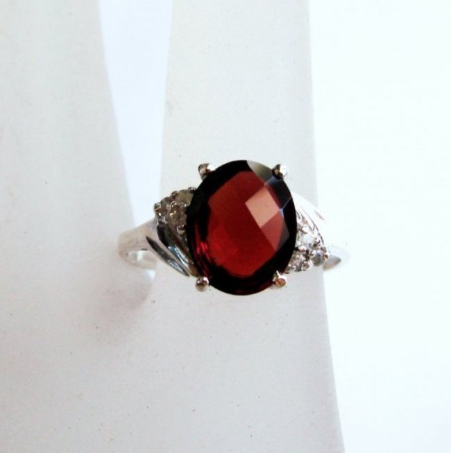 Anniversary Ring Natural Diamond Garnet 3.07Ct 14k W/g - 2