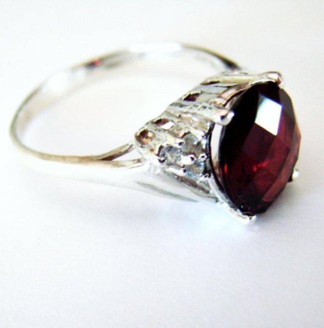 Anniversary Ring Natural Diamond Garnet 3.07Ct 14k W/g - 4