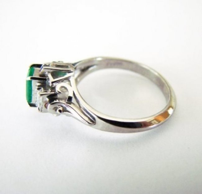 Emerald: .33CT, Diamond: .18CT, Ring Platinum - 2