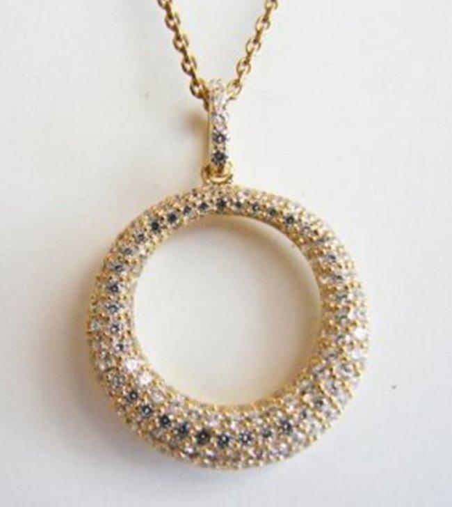 Pendant Circle Diamond Creation1.50Ct 18k Y/g Overlay