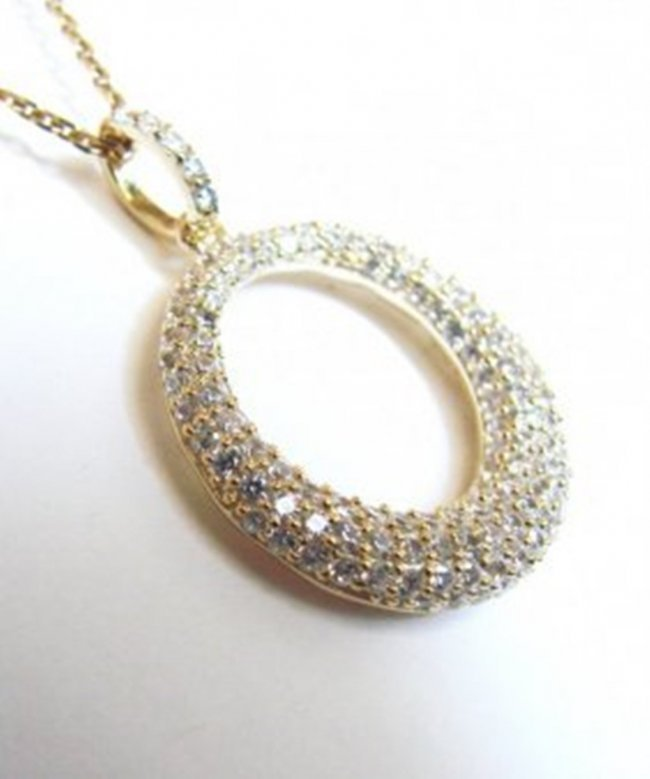 Pendant Circle Diamond Creation1.50Ct 18k Y/g Overlay - 2