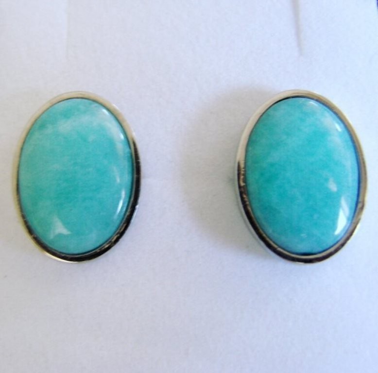 Men Cufflink Stainless Natural Amazonite Oval 19.25Ct