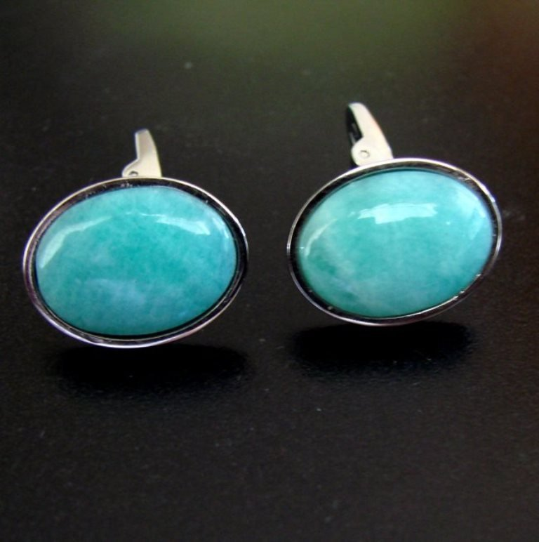 Men Cufflink Stainless Natural Amazonite Oval 19.25Ct - 2