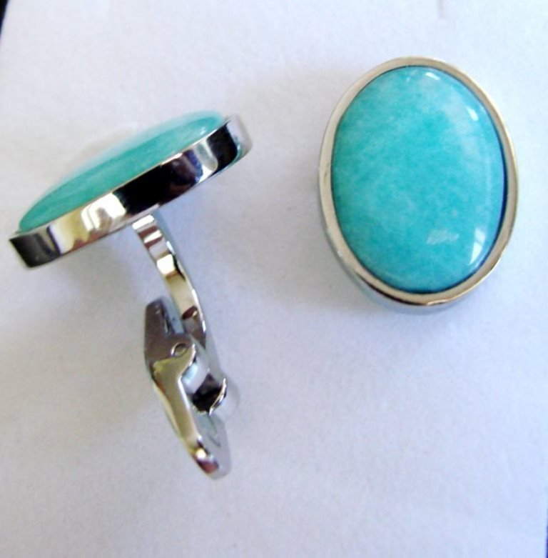 Men Cufflink Stainless Natural Amazonite Oval 19.25Ct - 3