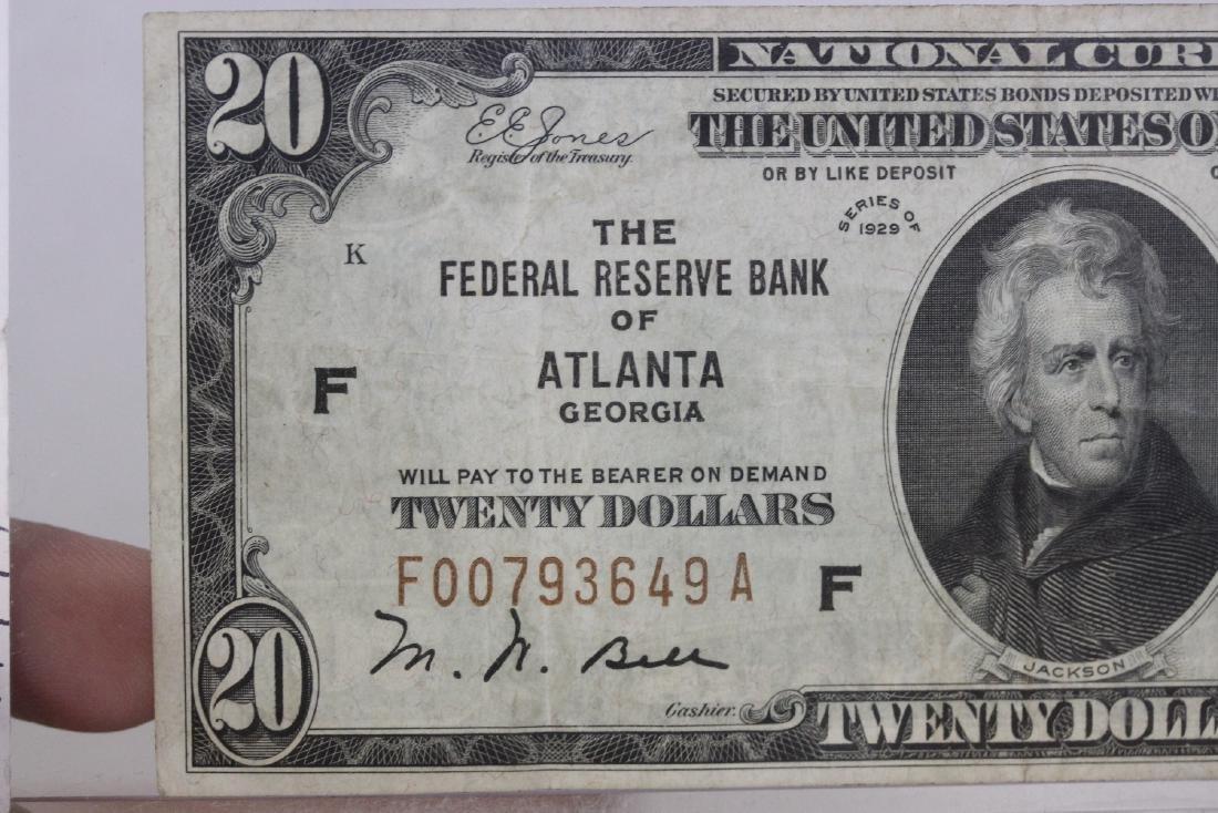 A $20.00 Atlanta, Georgia Federal Reserve Bank Note - - 9