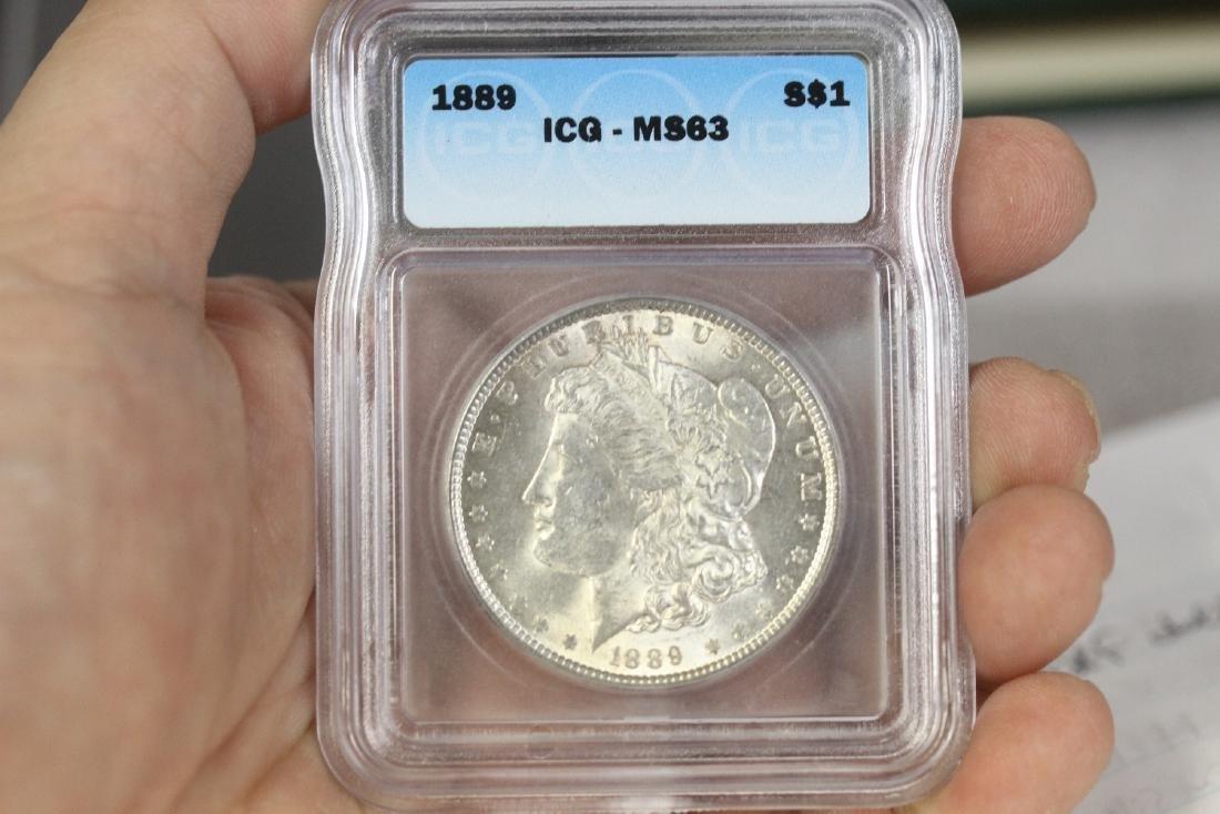 A Graded 1889 Morgan Silver Dollar