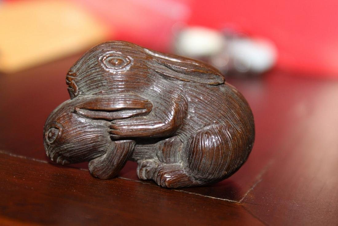 Antique Japanese / Asian Wood Netsuke of Two Rabbits