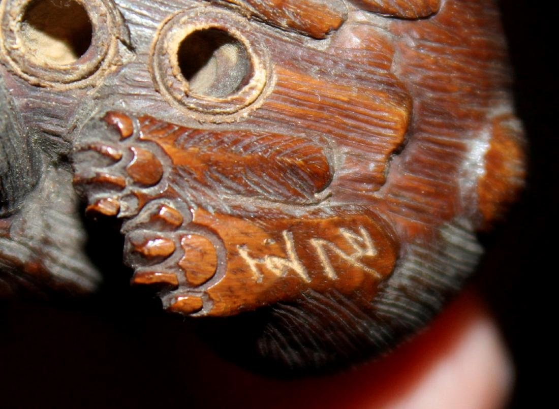 Antique Japanese / Asian Wood Netsuke of Two Rabbits - 7
