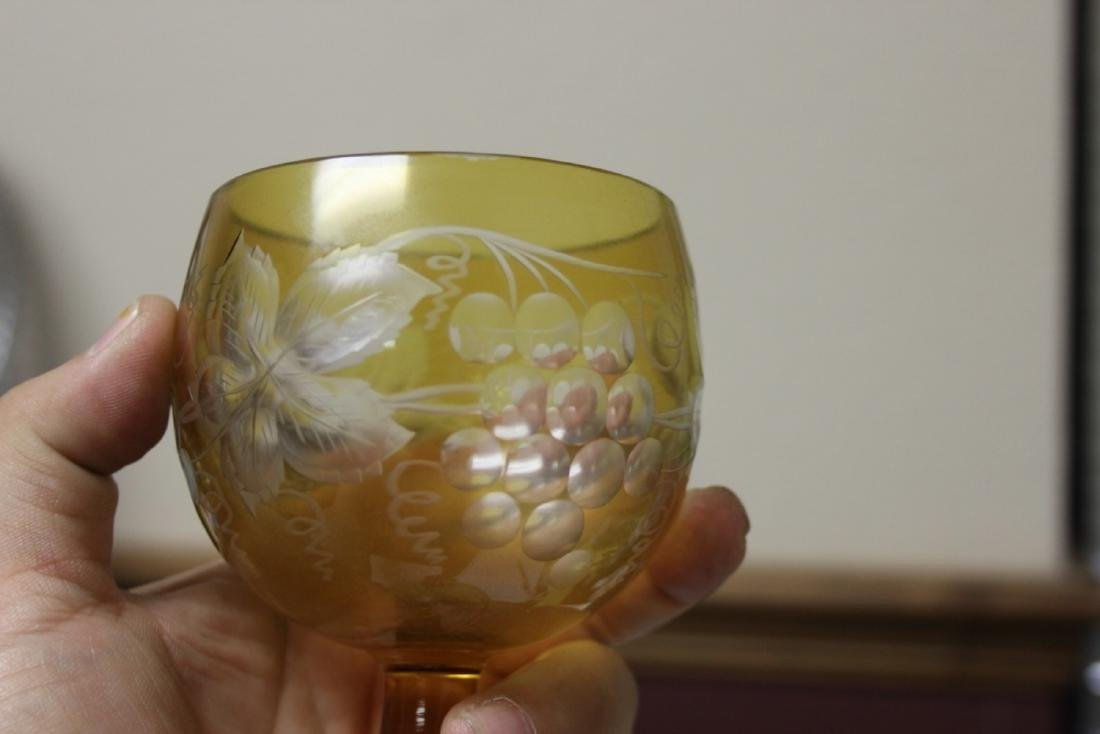 A Cut Glass Amber Glass Goblet - 6