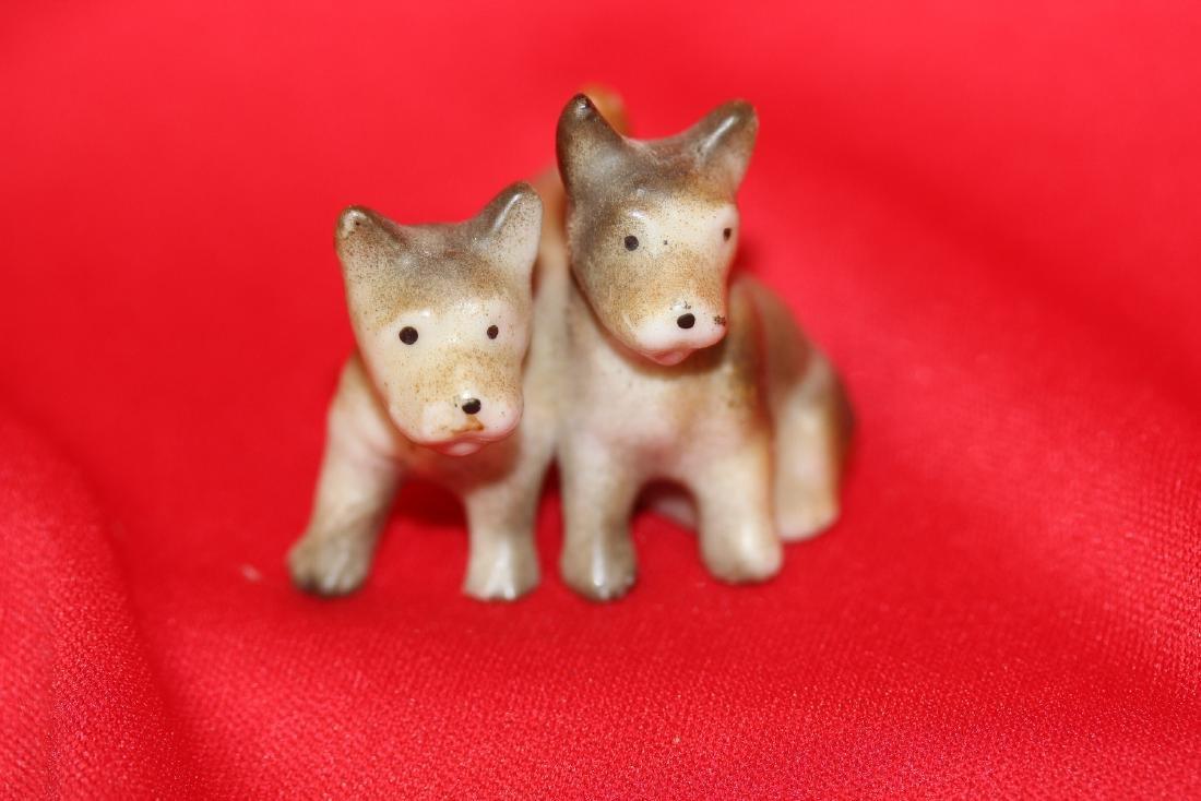 2 Pairs of Miniature  Ceramic Dogs