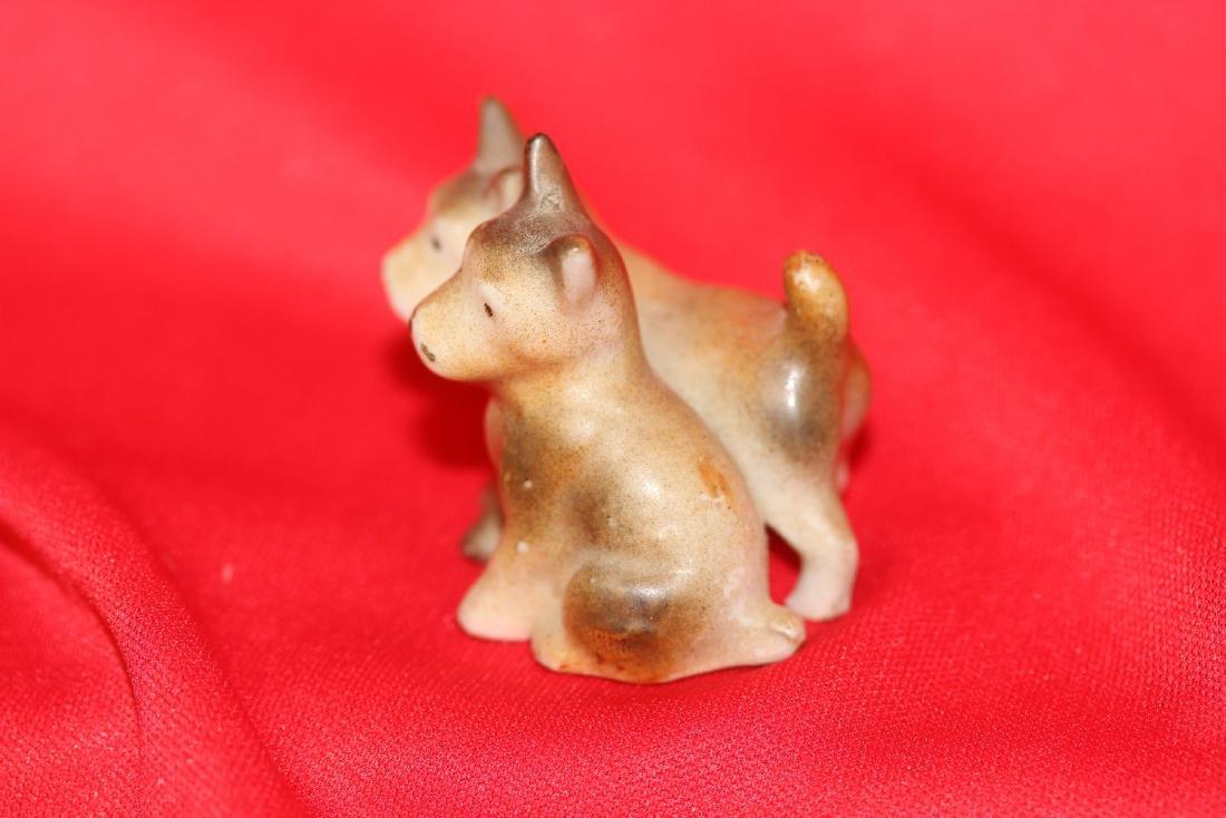 2 Pairs of Miniature  Ceramic Dogs - 2