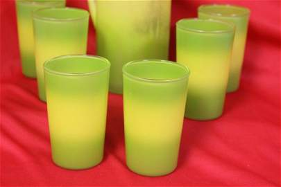 Set of Retro Glasses and Pitcher