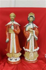 Two Oriental Style Porcelain Figurine