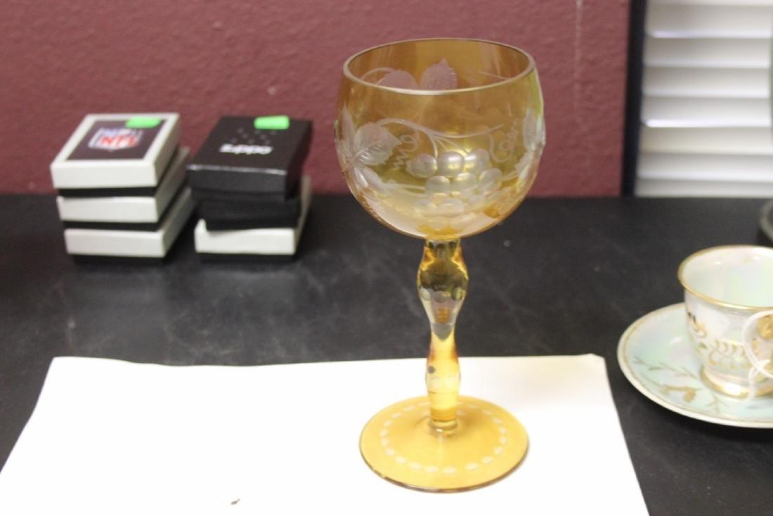 A Cut Glass Amber Glass Goblet