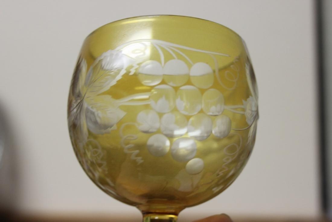 A Cut Glass Amber Glass Goblet - 3