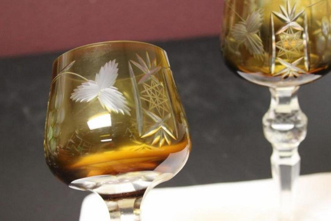 A Pair of Bohemian Cut Glass Amber Goblets - 3