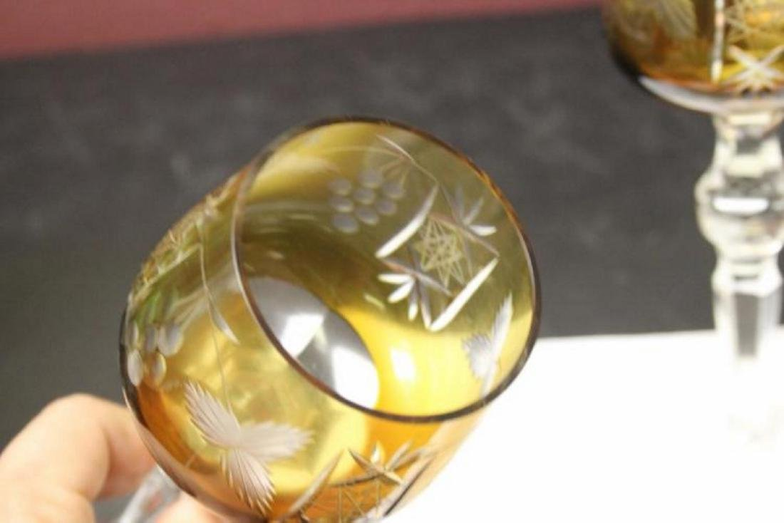 A Pair of Bohemian Cut Glass Amber Goblets - 4