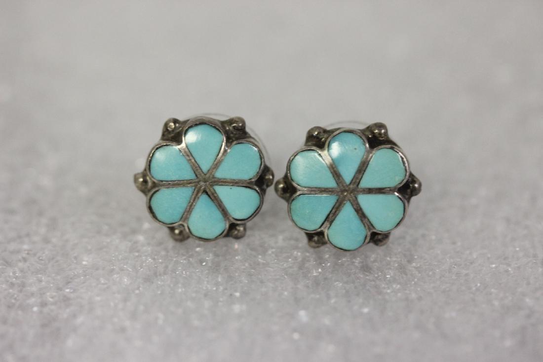 A Pair of Sterling and Enamel Earrings