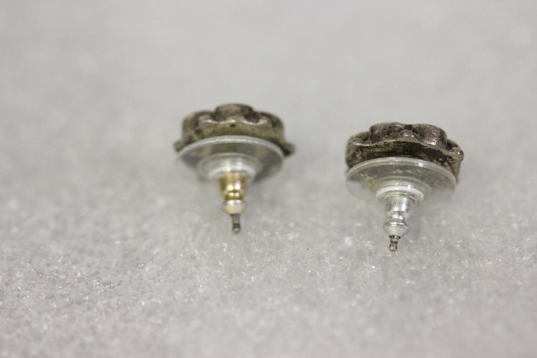 A Pair of Sterling and Enamel Earrings - 2