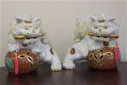 Pair of Porcelain Foo Lions or Foo Dogs
