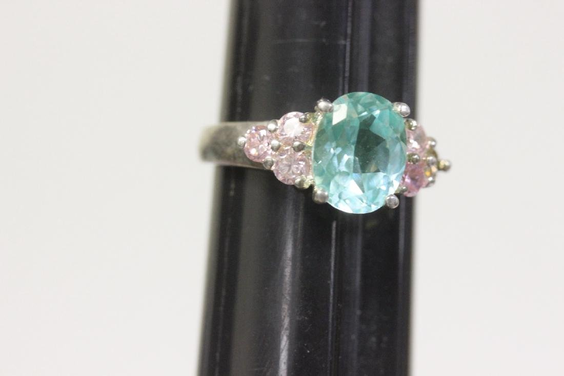 A Sterling and Gem Stone or Cz Ring