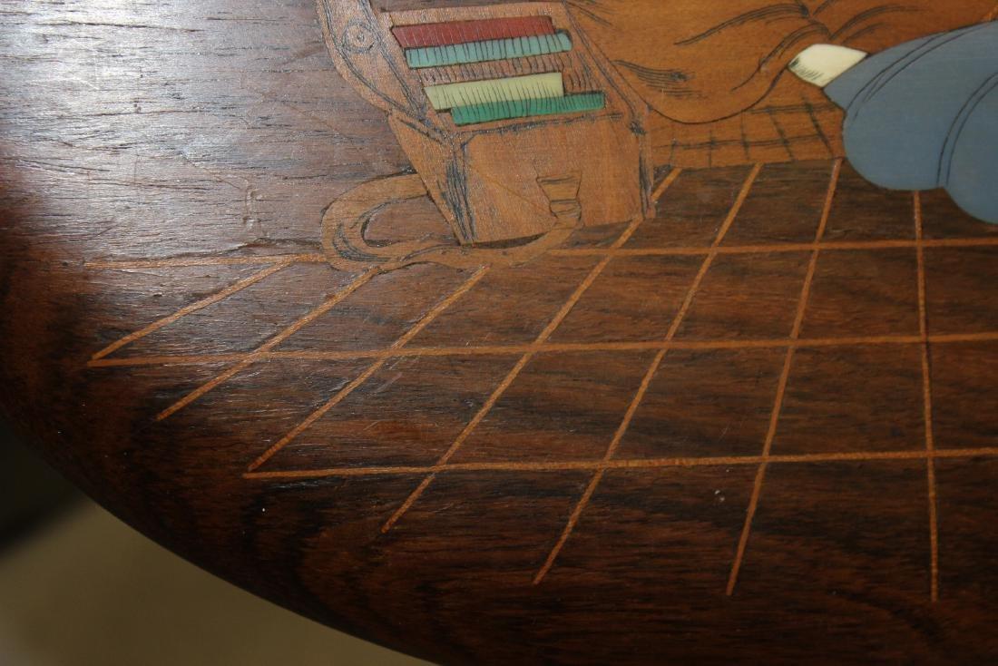 A Vintage Exotic Wood Inlaid Bone Wall Hanger - 6