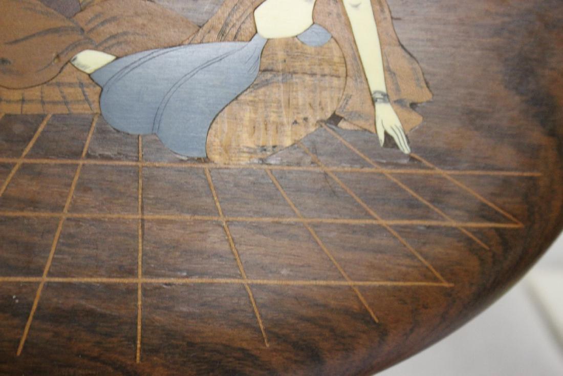 A Vintage Exotic Wood Inlaid Bone Wall Hanger - 7