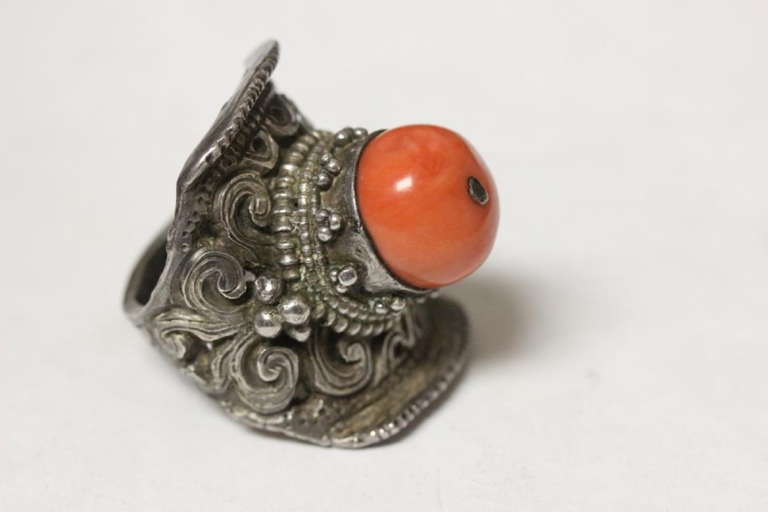 A Very Beautiful Chinese Coral and Carved Sterling Ring