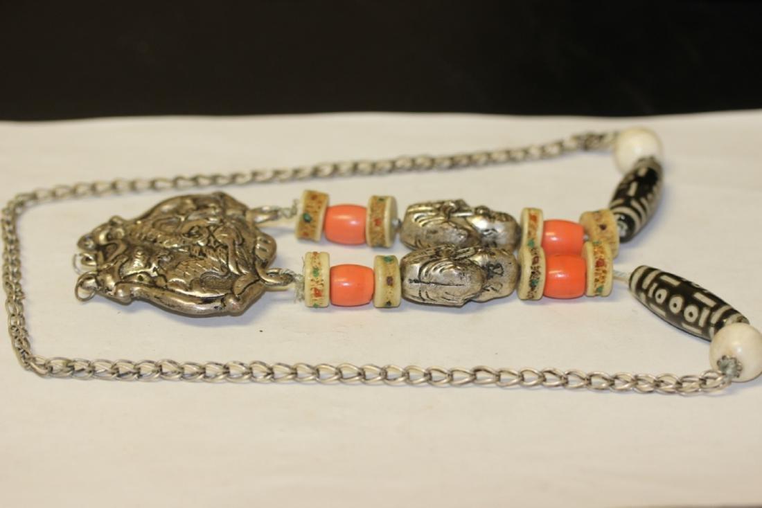 A Tibetian Dizi Bead and Bone Necklace