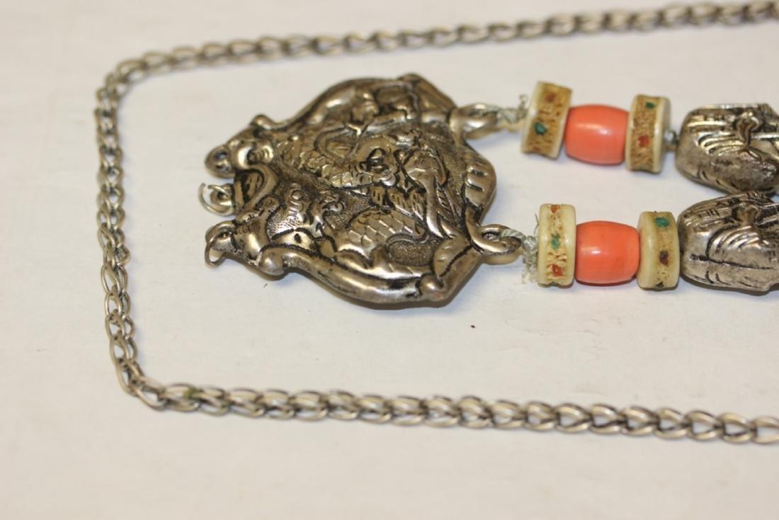 A Tibetian Dizi Bead and Bone Necklace - 2