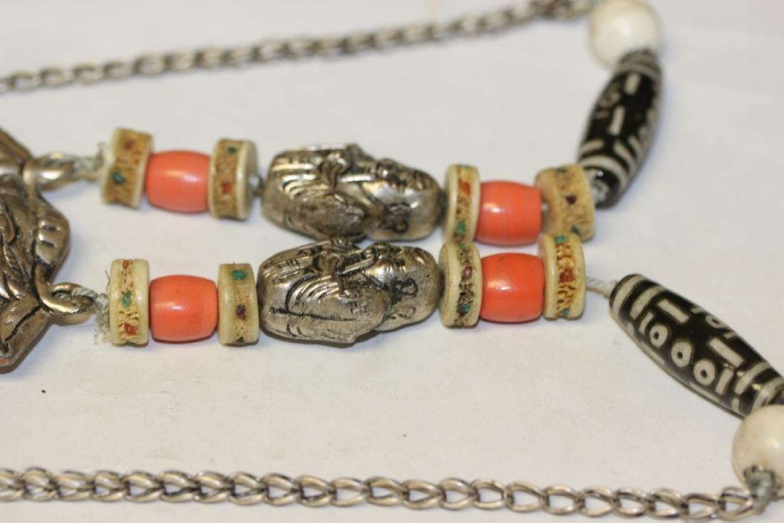 A Tibetian Dizi Bead and Bone Necklace - 3