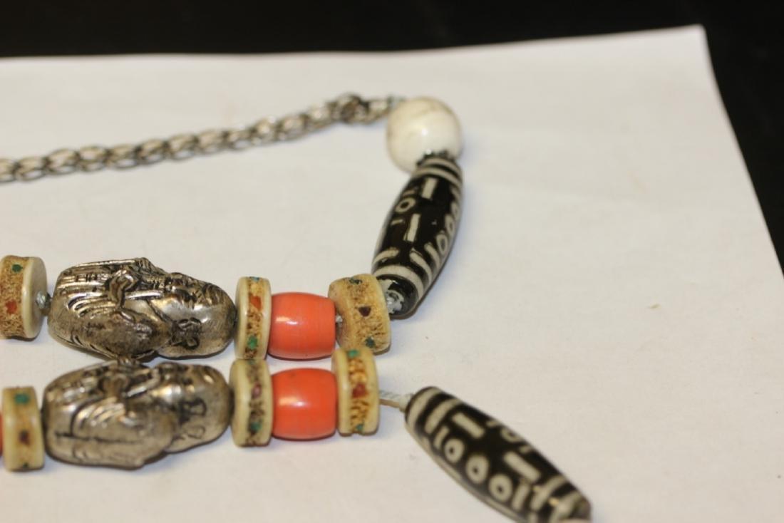 A Tibetian Dizi Bead and Bone Necklace - 4