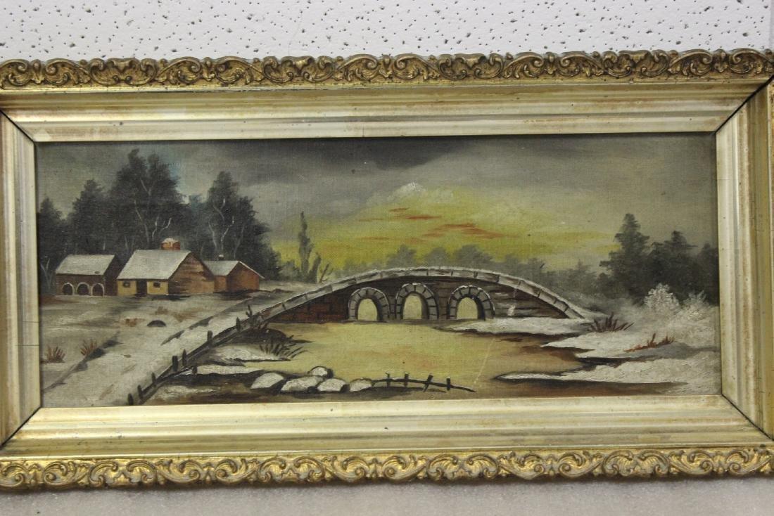An Oil on Canvas of a Bridge