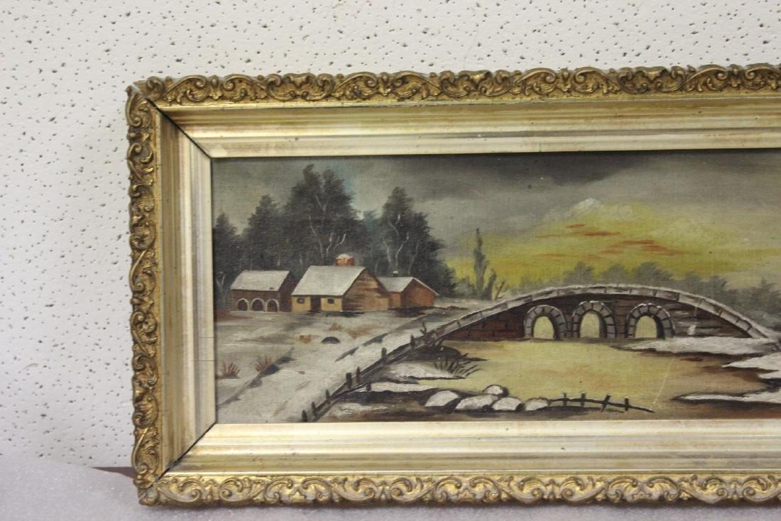 An Oil on Canvas of a Bridge - 2