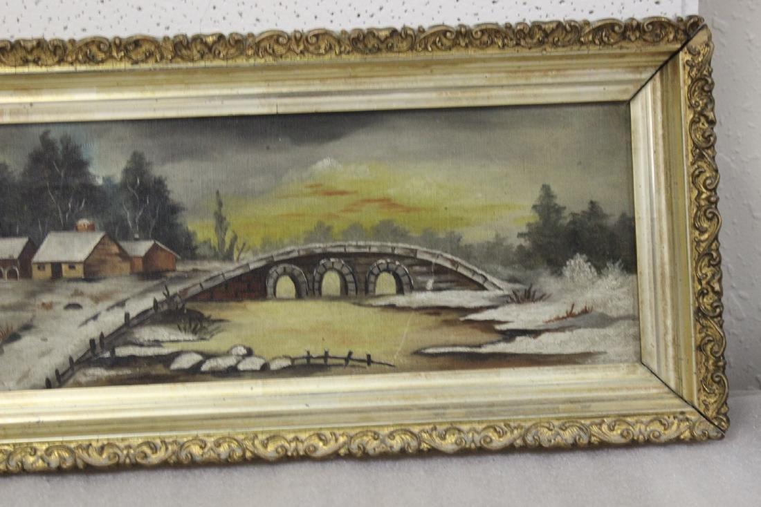 An Oil on Canvas of a Bridge - 3