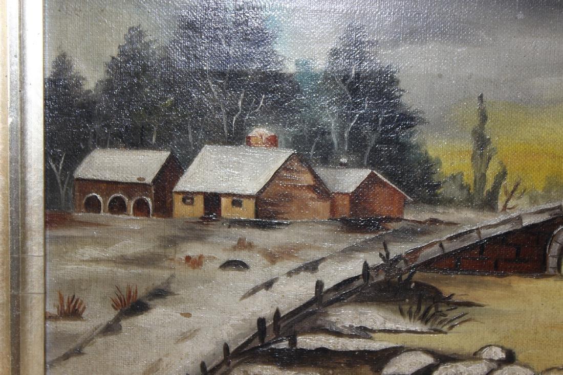 An Oil on Canvas of a Bridge - 4