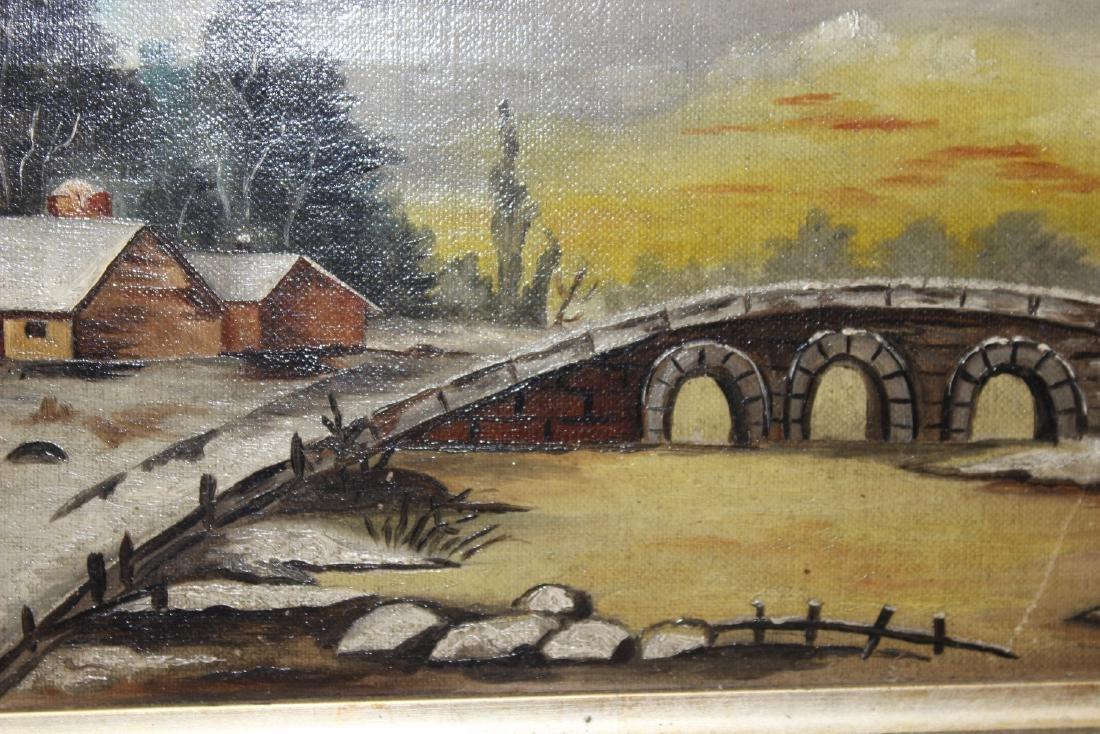 An Oil on Canvas of a Bridge - 6