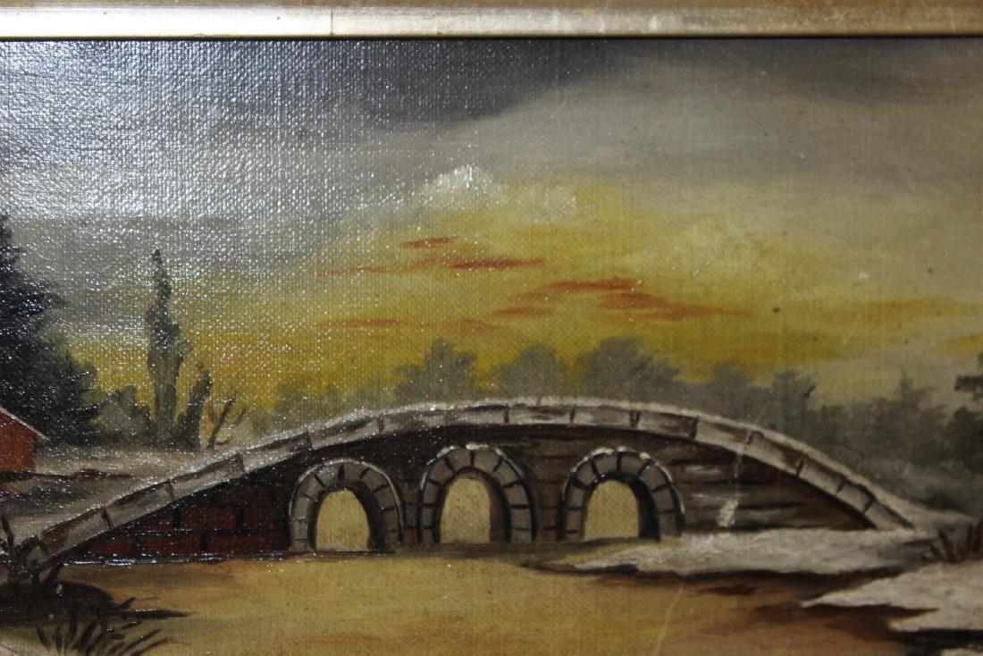 An Oil on Canvas of a Bridge - 7