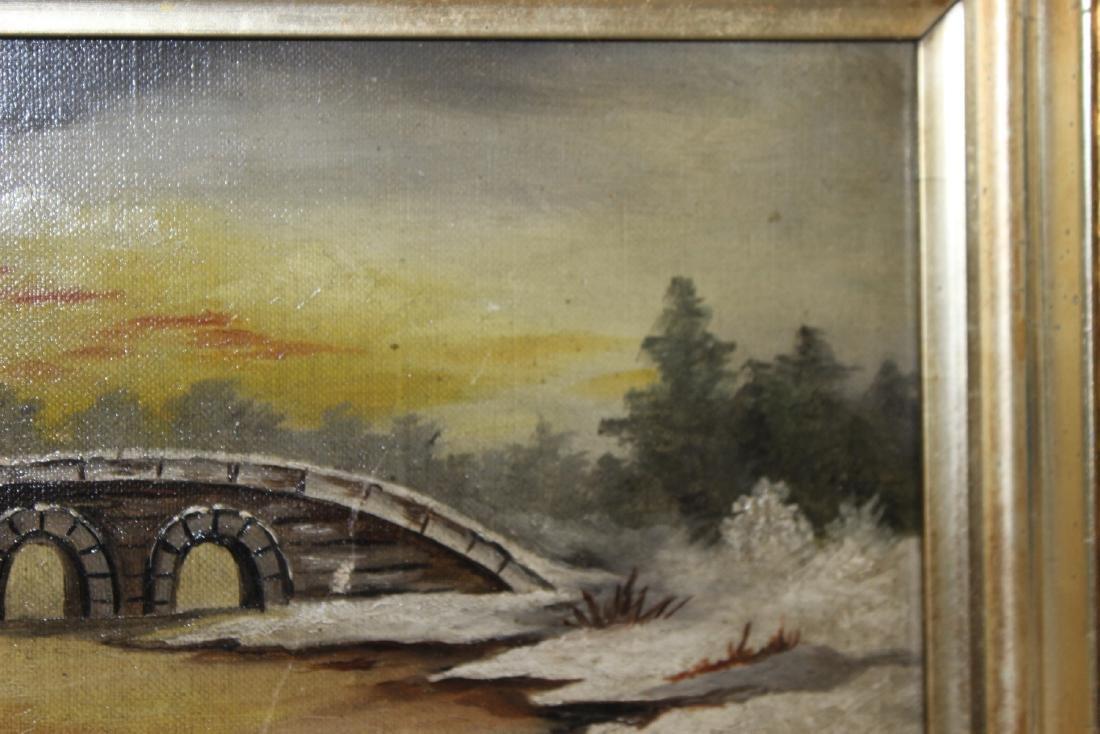 An Oil on Canvas of a Bridge - 8