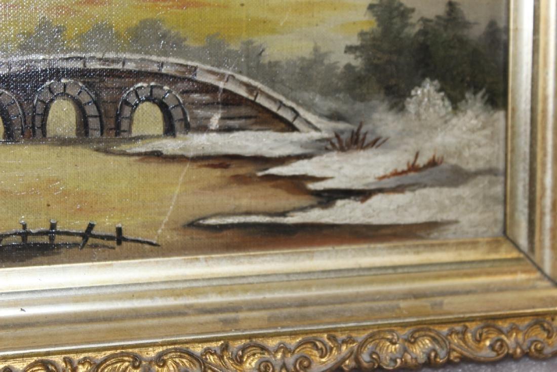 An Oil on Canvas of a Bridge - 9