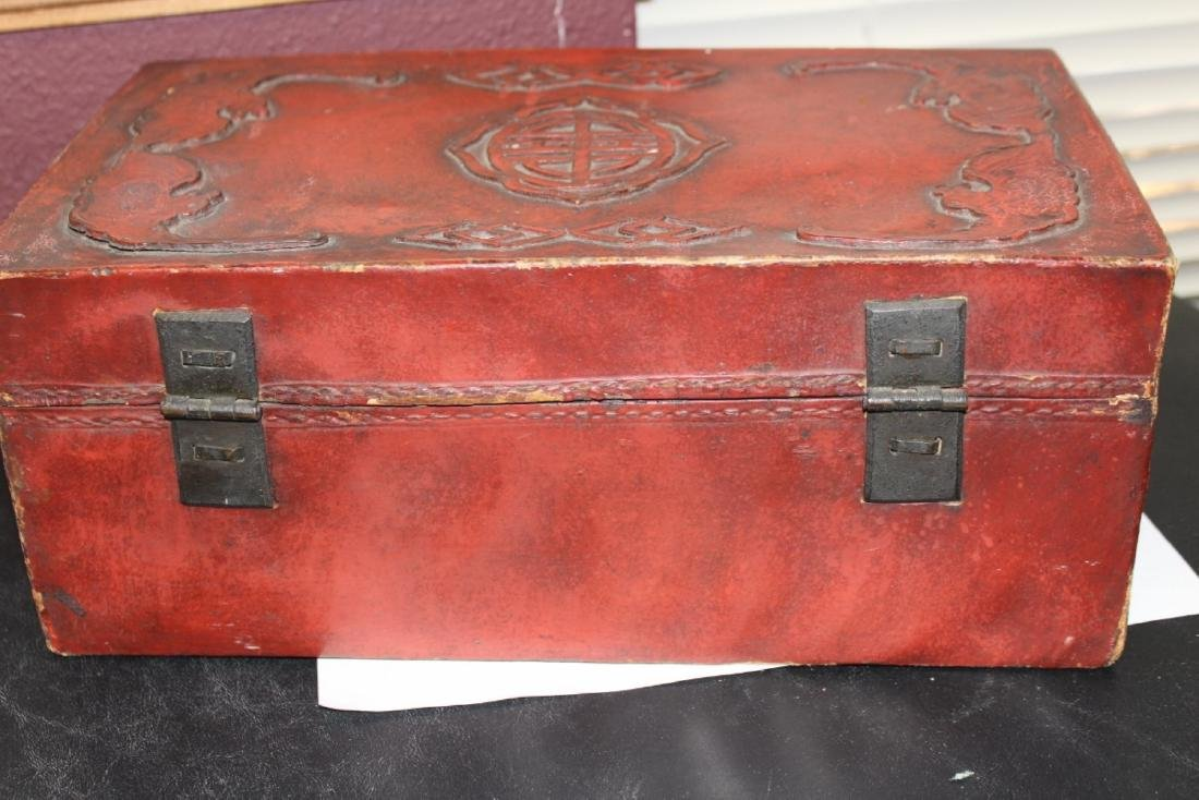 A Chinese Vintage Leather Box - 4