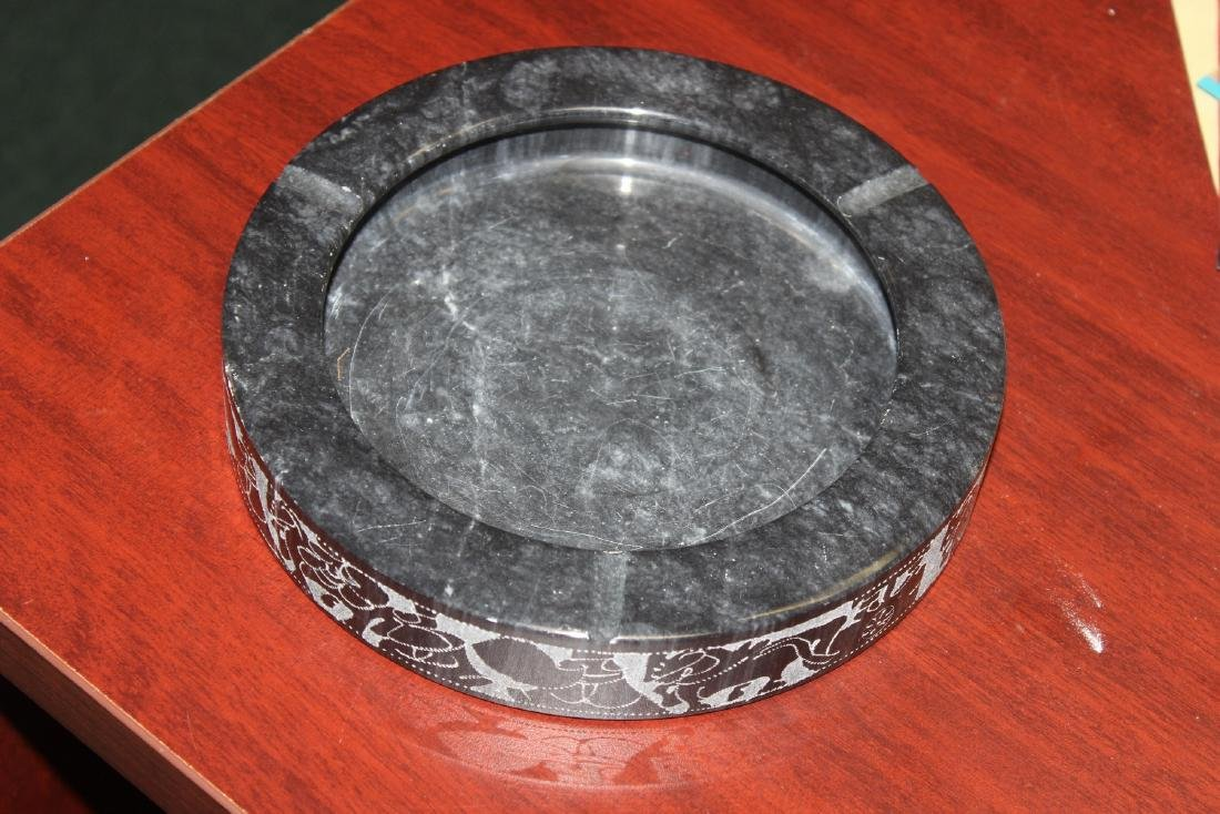 An Etched Marble Ashtray - 2