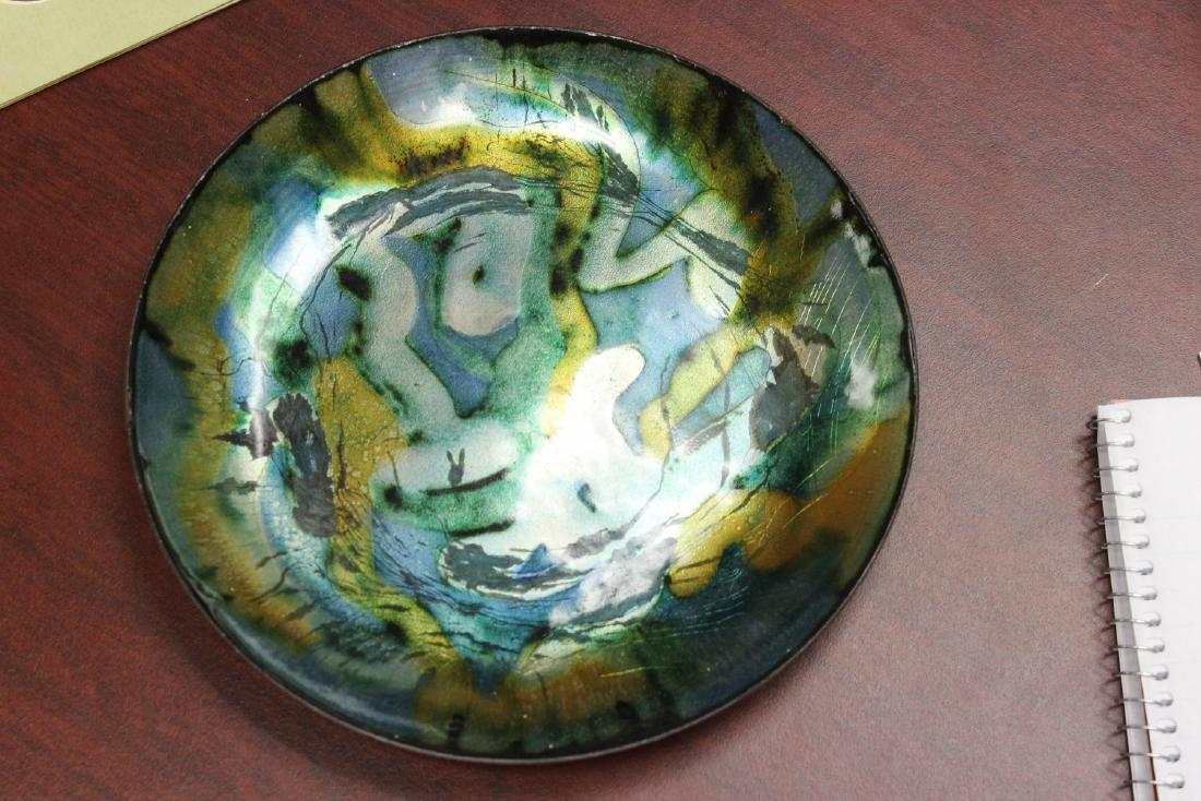 An Enamel Plate - Signed: Clara