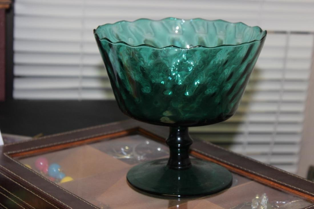 A Teal or Green Colour Glass Stem Bowl