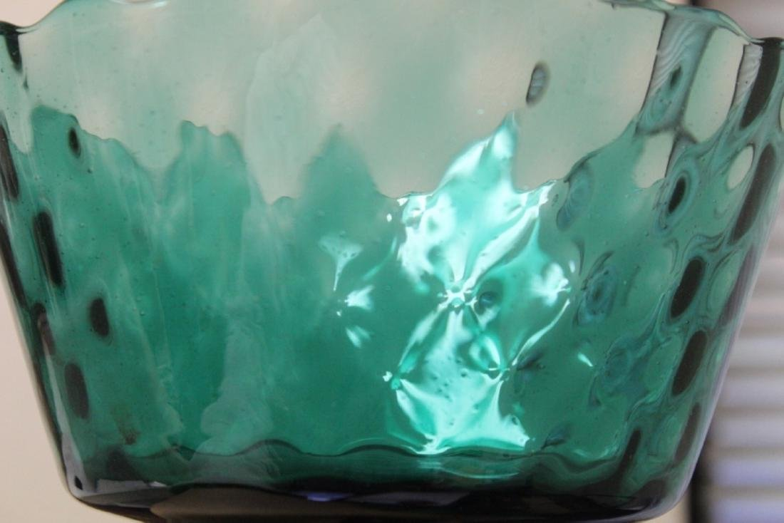 A Teal or Green Colour Glass Stem Bowl - 2