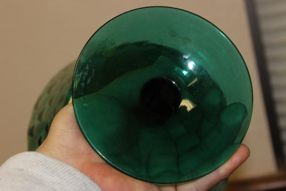 A Teal or Green Colour Glass Stem Bowl - 3